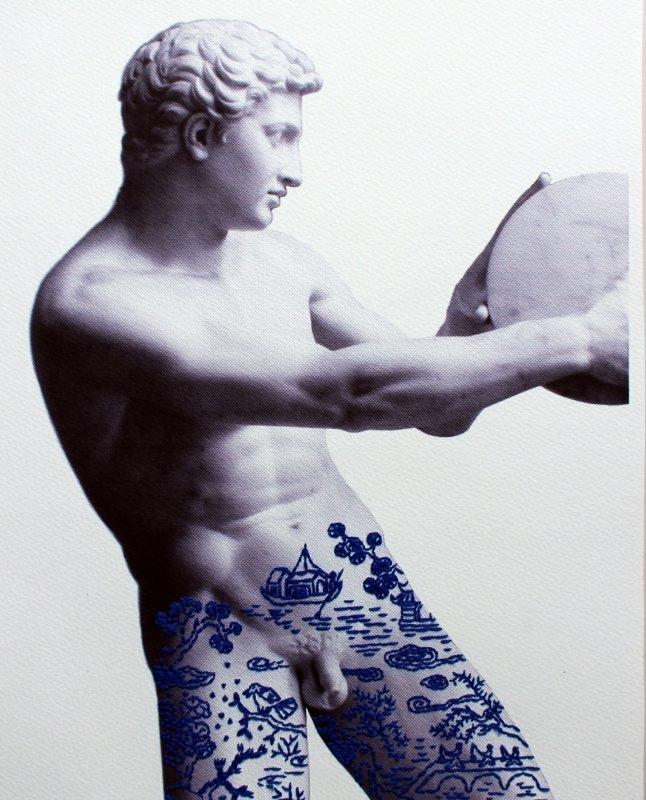 discobolus, embroidery, paolo fiorentini, art