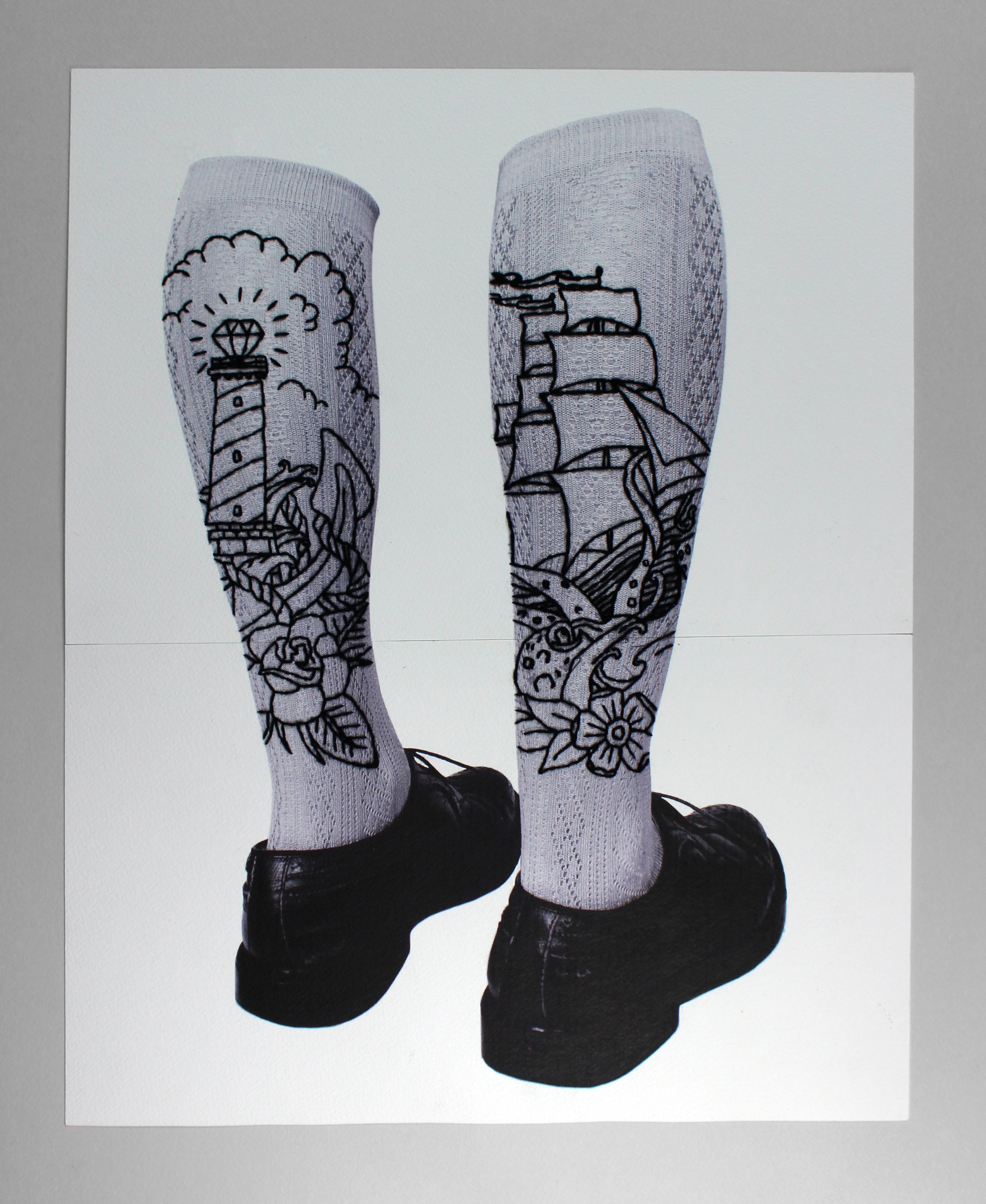 Tattooed socks, embroidery on paper, paolo fiorentini